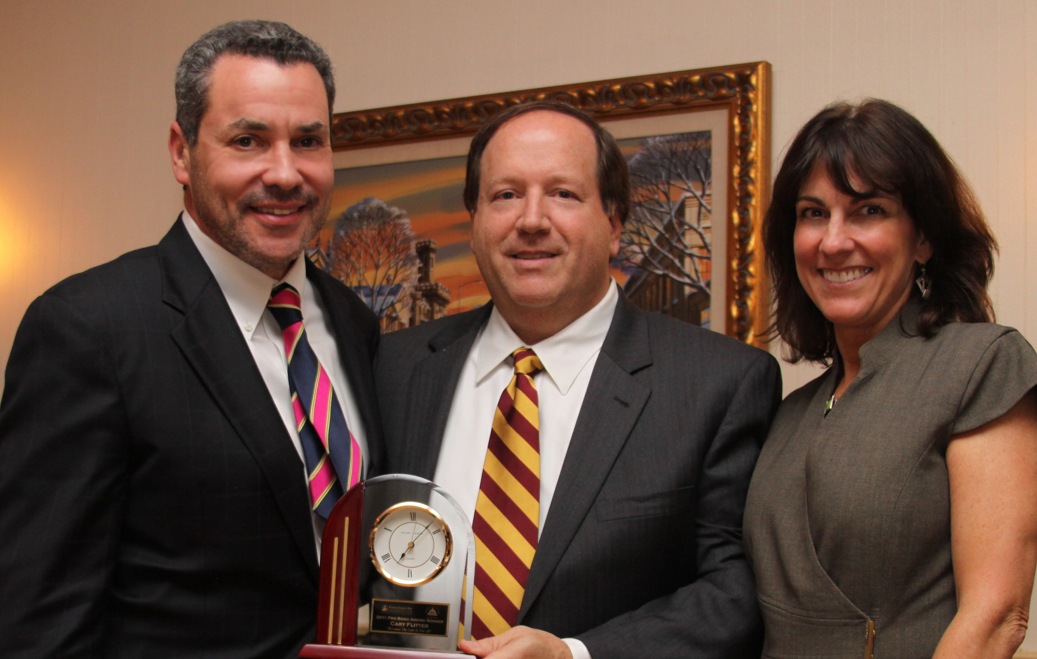 Cary L. Flitter, Esq. with Thomas G. Wilkinson, Esq. PBA President-Elect and Hon. Carolyn T. Carluccio, MBA President