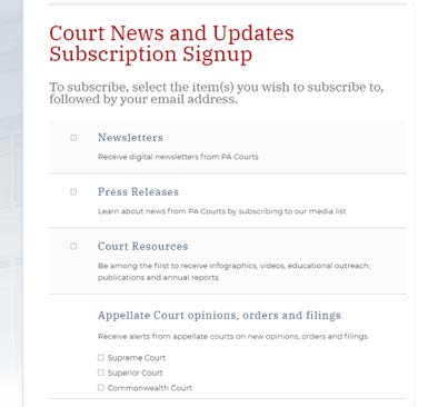 PA Court Subscriptions screenshot